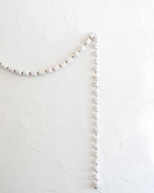 DISTRESSED WHITE BEADED GARLAND - McGee & Co.