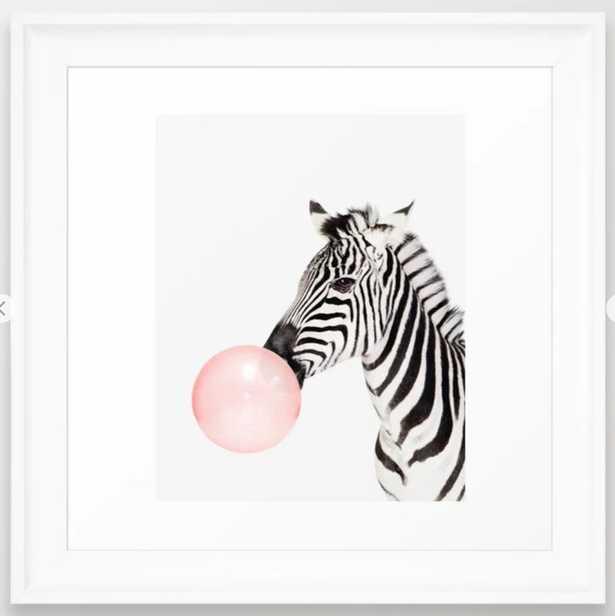 "Zebra, Bubble gum, Pink, Animal, Nursery, Minimal, Trendy decor, Interior, Wall art Framed Art Print - 12""x12"" - Society6"