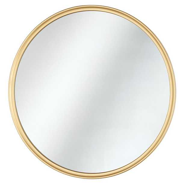 Home Decorators Collection 24 in. x 24 in. Framed Fog Free Round Mirror in Gold - Home Depot