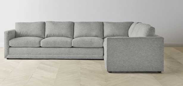 """The Warren-Heather Grey-L Sectional - Right: 127"""" / Left: 98"""" - Maiden Home"""