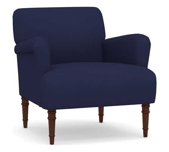 Morgan Upholstered Armchair, Polyester Wrapped Cushions, Performance Twill, Cadet Navy - Pottery Barn