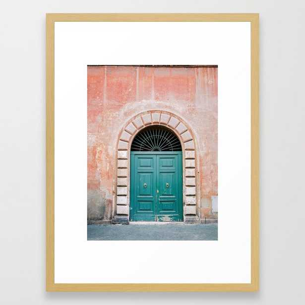 """Turquoise Green door in Trastevere, Rome. Travel print Italy, FRAME Conservation Natural, SIZE Medium (gallery) - 20"""" X 26"""" - Society6"""
