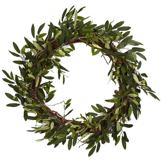 """20"""" Olive Wreath - Fiddle + Bloom"""