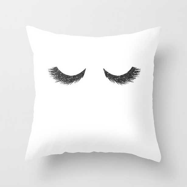 Lashes Black Glitter Mascara Throw Pillow - Society6