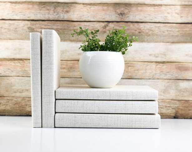 Set of 3 Decorative Books- Textured Cream - Havenly Essentials