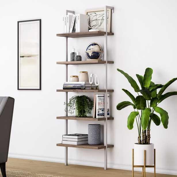 Moskowitz Ladder Bookcase - Natural Light Brown Wood, White Metal Frame - Wayfair