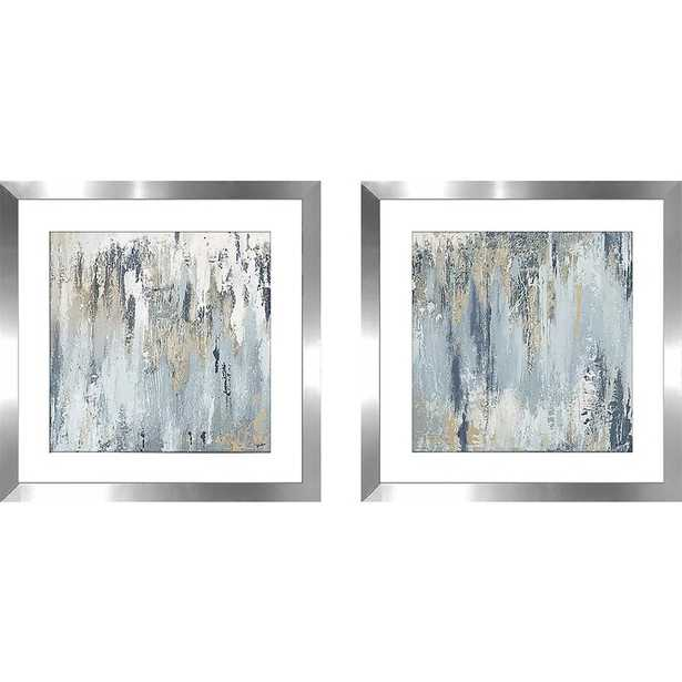 'Blue Illusion Square I' - 2 Piece Picture Frame Acrylic Painting Print Set on Paper / White - Wayfair