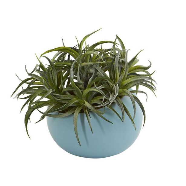 "9"" Succulent Artificial Plant in Blue Planter - Fiddle + Bloom"