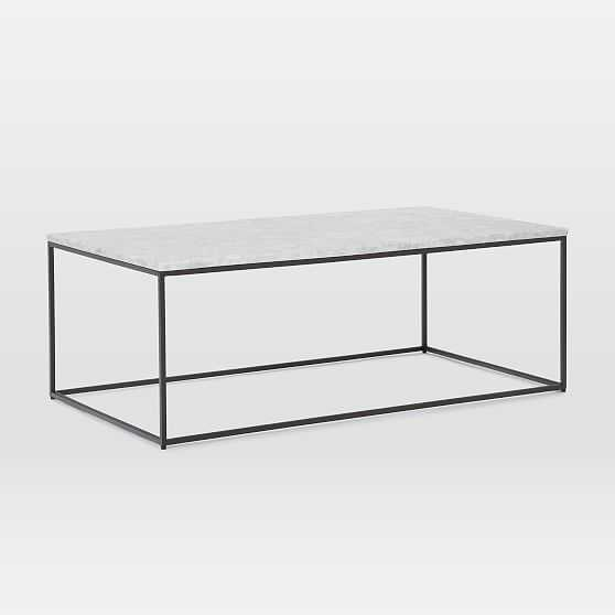 """Streamline XL Rectangle Coffee Table, 52""""x30"""", Marble and Antique Bronze - West Elm"""
