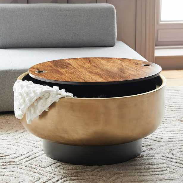 Drum Storage Coffee Table, Walnut/Antique Brass - West Elm