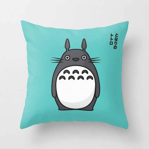 Totoro Pop Art - Blue Version Throw Pillow 16x16 w/ insert - Society6