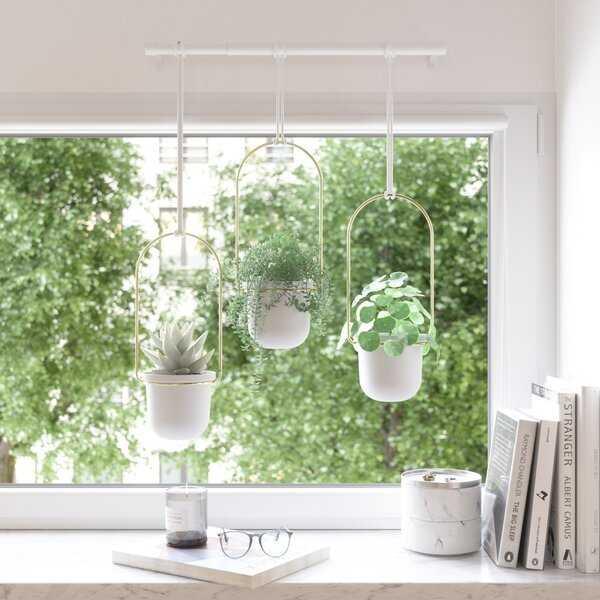 Triflora Hanging Melamine Wall Planter; White/Brass - Wayfair