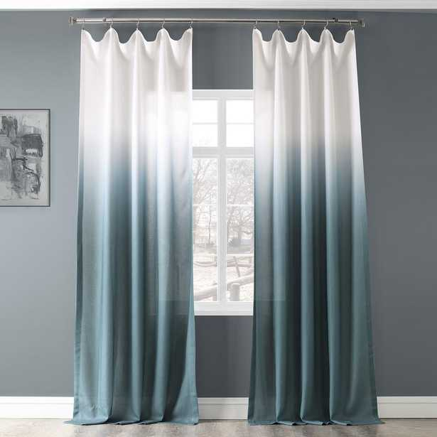 Ombre Aqua Blue Faux Linen Polyester Sheer Curtain - 50 in. W x 108 in. L - Home Depot