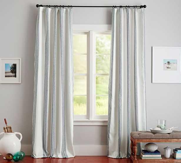 Riviera Striped Linen/Cotton Rod Pocket Blackout Curtain - Navy - Pottery Barn