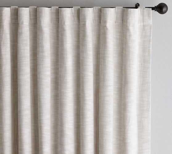 "Seaton Textured Drape, 50 x 96"", Neutral - Cotton Lining - Pottery Barn"