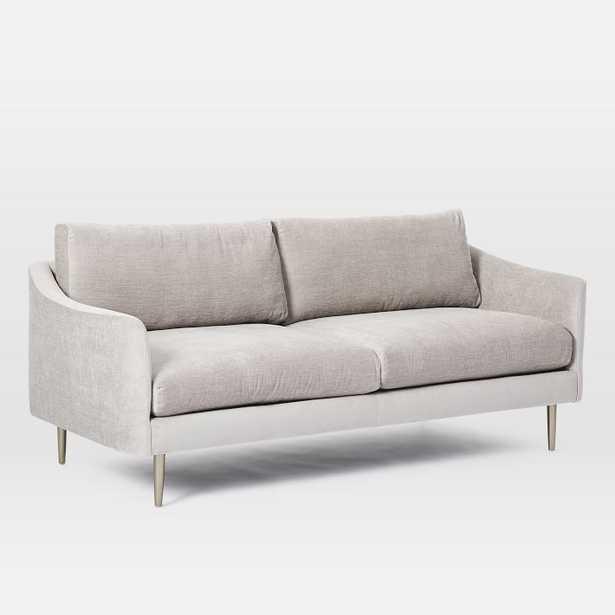 "Sloane 77"" Sofa, Poly, Distressed Velvet, Light Taupe, Light Bronze - West Elm"