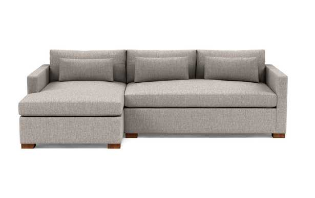 """Charly 110"""" Left Sectional with Brown Earth Fabric, double down blend cushions, extended chaise, and Oiled Walnut legs - Interior Define"""