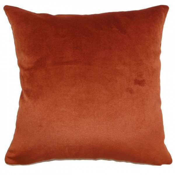 """Juno Solid Pillow Rust-18""""x18""""-with poly insert - Linen & Seam"""