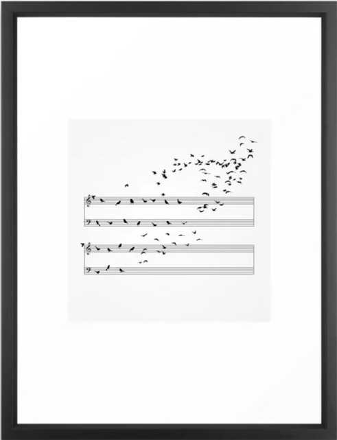 "Natural Musical Notes Framed Art Print, 20"" X 26"", Vector Black - Society6"