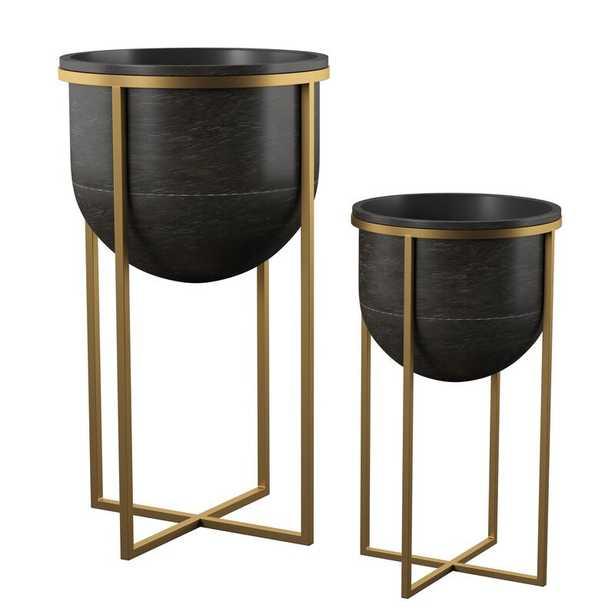 Manhart 2-Piece Iron Pot Planter Set - Wayfair
