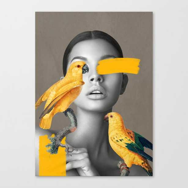 Girl with Parrots Canvas Print - Society6