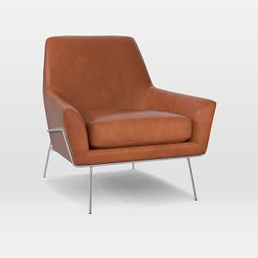 Lucas Wire Base Chair, Leather, Saddle, Polished Nickel - West Elm
