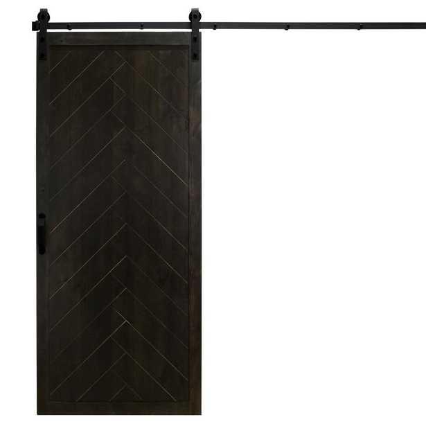 36 in. x 84 in. Herringbone Midnight Black Alder Wood Interior Sliding Barn Door Slab with Hardware Kit - Home Depot