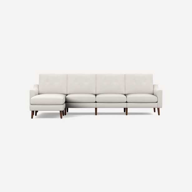 Nomad King Sectional with Reversible Chaise, Ivory, Walnut Legs, Low Arm - Burrow