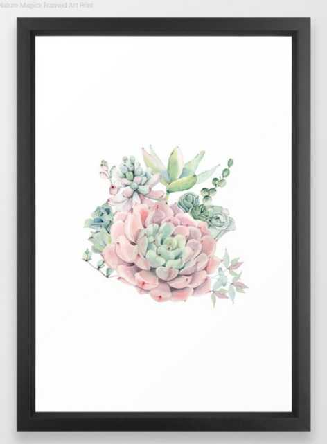 Pink Succulents by Nature Magick Framed Art Print - Society6