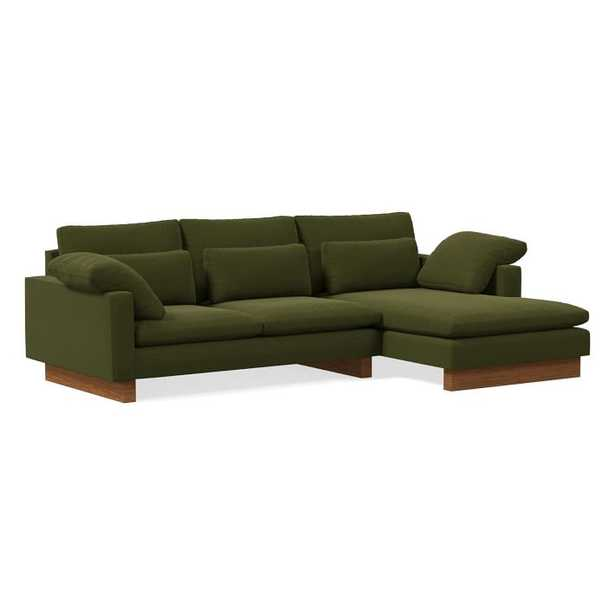 Harmony Sectional Set 01: Left Arm 2.5 Seater Sofa, Right Arm Chaise, Distressed Velvet, Olive, Dark Walnut, Down - West Elm