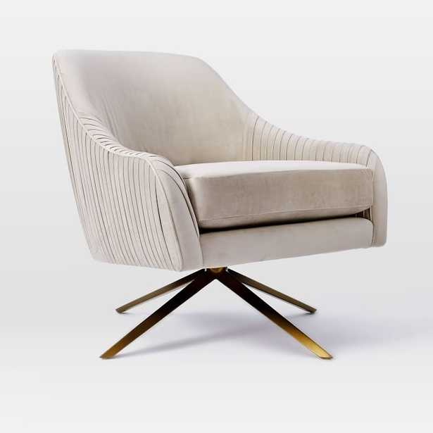 Roar & Rabbit™ Pleated Swivel Chair Performance Velvet, Ink Blue - West Elm