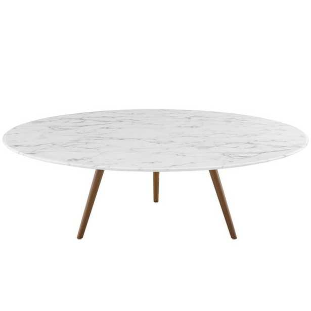 """Lippa 47"""" Round Artificial Marble Coffee Table with Tripod Base in Walnut White - Modway Furniture"""