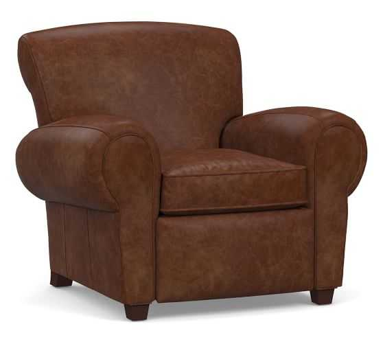 Manhattan Leather Recliner, Polyester Wrapped Cushions, Statesville Molasses - Pottery Barn