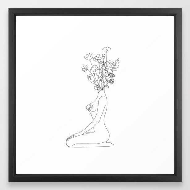 """Minimal Line Bloom Framed Art Print - Vector Black - Medium (gallery) - 22"""" X 22"""" - Society6"""