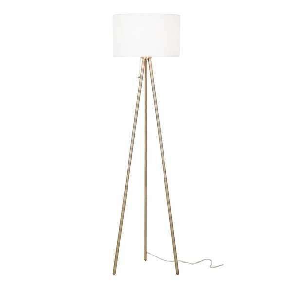 "61.5"" Antique Brass Tripod Floor Lamp - Wayfair"