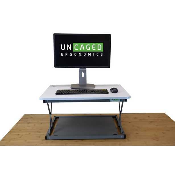 Change Desk Mini Standing Desk Converter, White/Gray - Wayfair