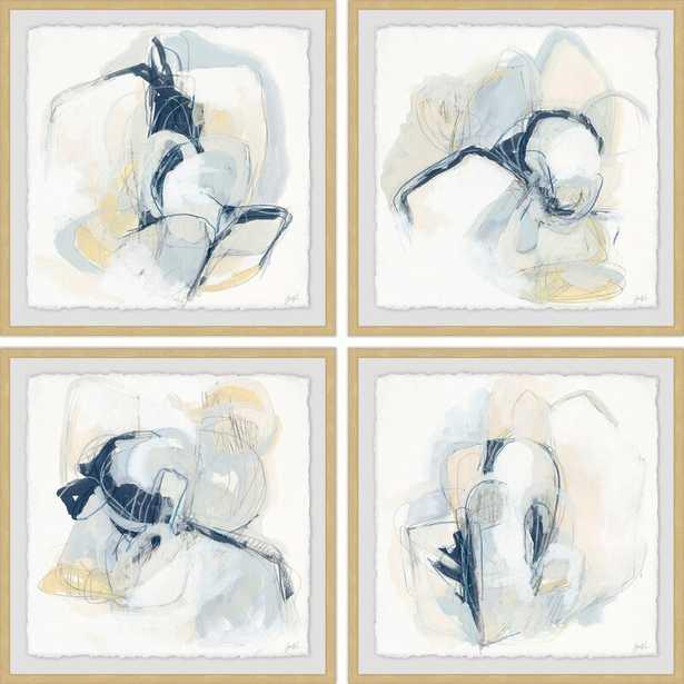 "'Pastel Sketches' 4 Piece Framed Acrylic Painting Print Set / 24"" x 24"" Each - Wayfair"