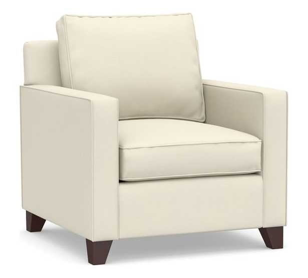 Cameron Square Arm Upholstered Armchair, Polyester Wrapped Cushions, Park Weave Ivory - Pottery Barn