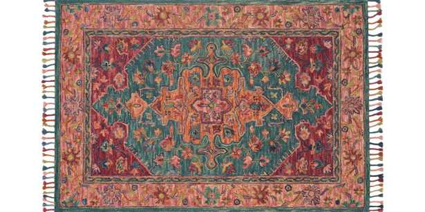 """ZR-05 TEAL / BERRY - 5' x 7'6"""" - Loma Threads"""