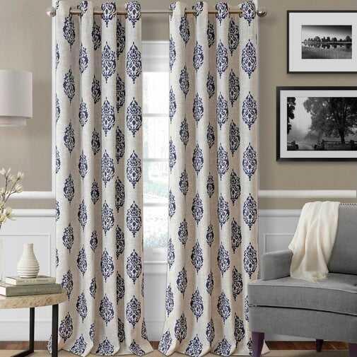 "Atticus Ikat Room Darkening Thermal Grommet Single Curtain Panel - 84"" - AllModern"