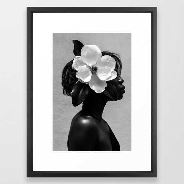 Magnolia Framed Art Print, medium gallery 20x26, vector black frame - Society6