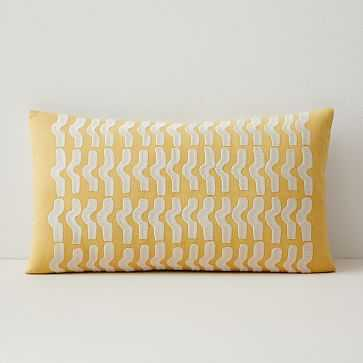 """Floating Waves Lumbar Pillow Cover, 12""""x21"""", Yellow Stone - West Elm"""