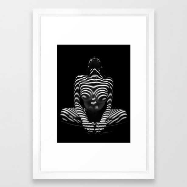 1152-MAK Abstract Nude Black & White Zebra Striped Woman Topographic Feminine Body Framed Art Print - Society6