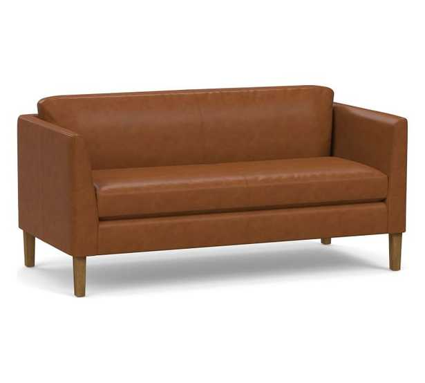 """Hudson Leather Loveseat 64.5"""", Polyester Wrapped Cushions, Signature Maple - Pottery Barn"""