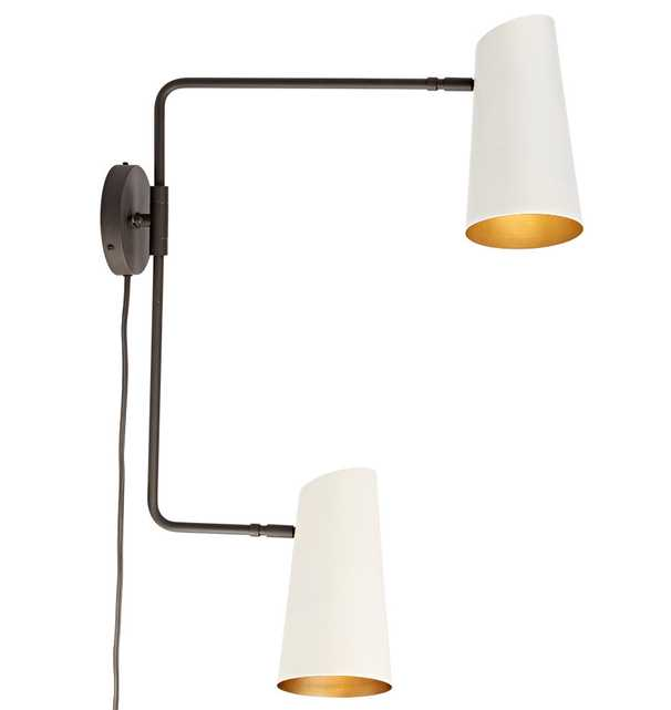 Cypress Double Swing Arm Sconce Plug-In // Oil-Rubbed Bronze With Satin White Shades - Rejuvenation