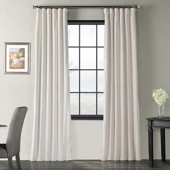 Exclusive Fabrics & Furnishings Blackout Signature Ivory Blackout Velvet Curtain - 50 in. W x 108 in. L (1 Panel) - Home Depot