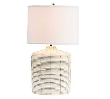 Cambria Seagrass Table Lamp with Small SS Gallery Shade, Small - Pottery Barn