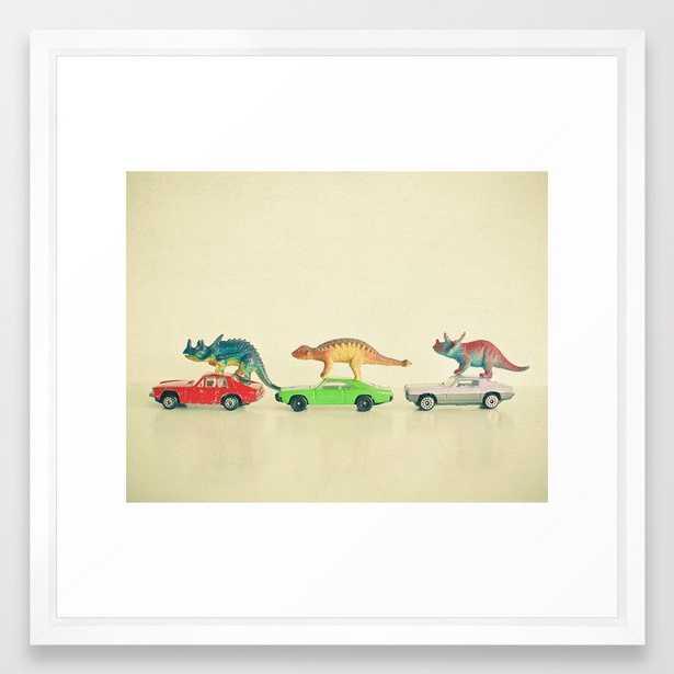 Dinosaurs Ride Cars Framed Art Print - Society6