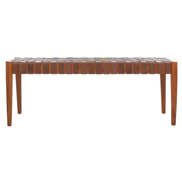 Albanese Leather Bench - Brown - AllModern