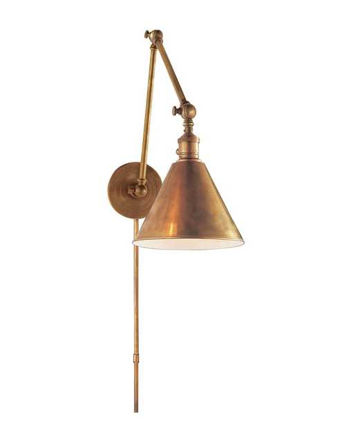 BOSTON DOUBLE ARMED LIBRARY LIGHT - HAND-RUBBED ANTIQUE BRASS - McGee & Co.